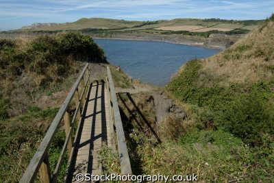 wooden bridge kimmeridge bay dorset uk coastline coastal environmental england english great britain united kingdom british