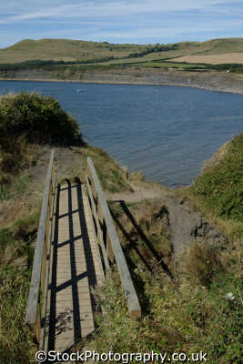 wooden bridge kimmeridge bay dorset uk coastline coastal environmental england english great britain united kingdom british