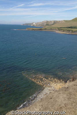 kimmeridge bay dorset hobarrow brands distant uk coastline coastal environmental england english great britain united kingdom british