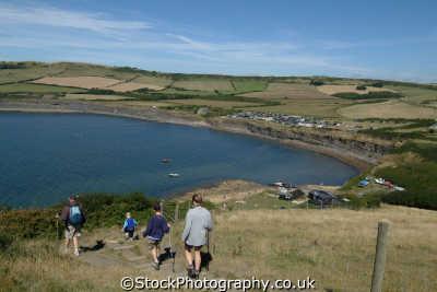 hikers south west coast path kimmeridge dorset uk coastline coastal environmental england english great britain united kingdom british