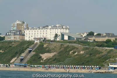 bournemouth cable car beach huts seafront uk coastline coastal environmental dorset england english great britain united kingdom british