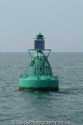 navigational buoy. starboard hand lateral mark green conical marine misc. iala-b iala b ialab international maritime buoyage isle wight england english great britain united kingdom british