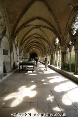 salisbury cathedral cloisters uk cathedrals worship religion christian british architecture architectural buildings wiltshire wilts england english great britain united kingdom