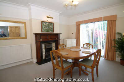 dining room patio doors pine table interiors inside british housing houses homes dwellings abode architecture architectural buildings uk middlesex middx england english great britain united kingdom