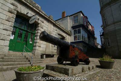 cannon outside helston folk museum south west towns england southwest country english uk cornwall cornish great britain united kingdom british