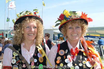 female morris dancers costumes costumed people persons cornwall cornish england english great britain united kingdom british