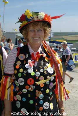 lady morris dancer costumes costumed people persons cornwall cornish england english great britain united kingdom british