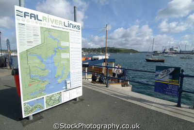 falmouth north quay. fal river links sign harbour harbor uk coastline coastal environmental cornwall cornish england english great britain united kingdom british