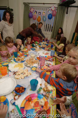 birthday party food children infant groups people persons feast united kingdom british