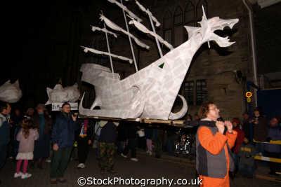truro festival lights paper mache boat south west towns england southwest country english uk papier cornish cornwall great britain united kingdom british