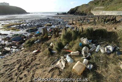 rubbish washed beach environmental pollution uk detritus waste united kingdom british