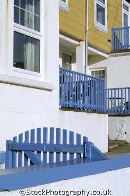 picturesque clapboard buildings mullion cove cornwall seafront uk coastline coastal environmental lizard cornish england english great britain united kingdom british