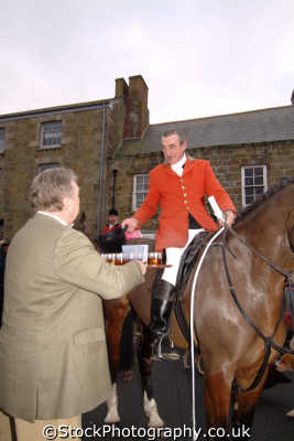 huntsman taking whiskey local hotelier prior hunt fox hunting blood banned sports sporting uk helston cornwall cornish england english great britain united kingdom british