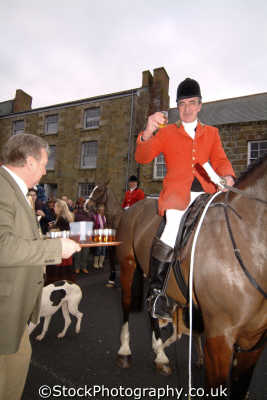 huntsman taking whisky local hotelier prior hunt fox hunting blood banned sports sporting uk traditional hospitality helston cornwall cornish england english great britain united kingdom british