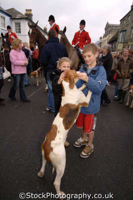 children petting hunting hound fox blood banned sports sporting uk helston cornwall cornish england english great britain united kingdom british