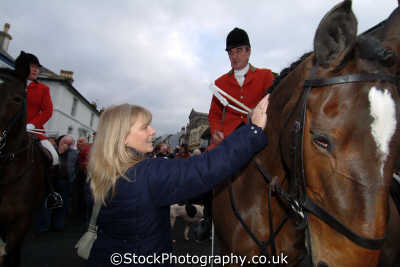 patting hunstmans horse fox hunting blood banned sports sporting uk helston cornwall cornish england english great britain united kingdom british