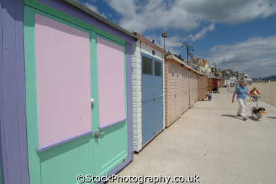 lyme regis dorset beach huts marine parade unusual british buildings strange wierd uk england english great britain united kingdom