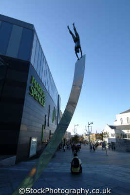 plymouth devon sculpture outside drakes circus shopping centre uk centres retailers trade centers commercial buildings british architecture architectural devonian england english great britain united kingdom