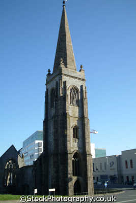 plymouth devon charles church cross roundabout uk churches worship religion christian british architecture architectural buildings bomb damaged devonian england english great britain united kingdom