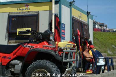 lifeguards falmouth rnli coastguard lifeboat rescue uk emergency services quad bike cornwall cornish england english great britain united kingdom british