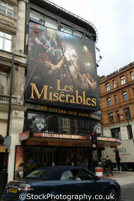 les miserables queens theatre shaftsbury avenue uk theatres theater theatrical venues british architecture architectural buildings westminster london cockney england english great britain united kingdom