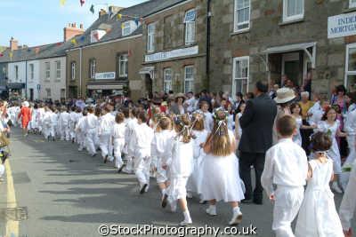 flora day helston. childrens parade leisure uk helston cornwall cornish england english great britain united kingdom british