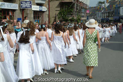flora day helston. teenagers parade leisure uk helston cornwall cornish england english great britain united kingdom british
