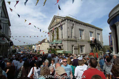 flora day helston. crowds town hall leisure uk helston cornwall cornish england english great britain united kingdom british