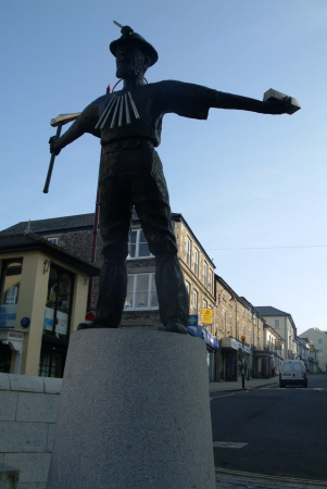 statue tin miner fore st redruth uk statues british architecture architectural buildings cornwall cornish england english great britain united kingdom