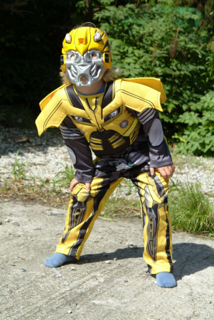 child playing transformer outfits costumes costumed superhero bumblebee united kingdom british