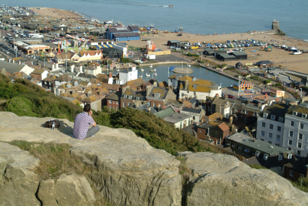 aerial view tourist attractions hastings beach seafront uk coastline coastal environmental sussex home counties england english angleterre inghilterra inglaterra united kingdom british