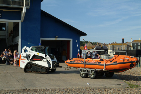 hastings rib lifeboat pushed tractor beach launch rnli coastguard rescue uk emergency services sussex home counties england english angleterre inghilterra inglaterra united kingdom british