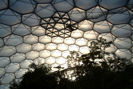 eden project roof structure rainforest biome tourist attractions england english botanical garden attraction architectural geodesic dome cornish cornwall angleterre inghilterra inglaterra united kingdom british
