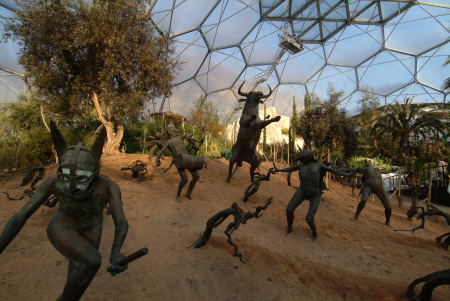 eden project bacchanalian sculptures revelling vineyard mediterranean biome tourist attractions england english botanical garden attraction architectural geodesic dome cornish cornwall angleterre inghilterra inglaterra united kingdom british