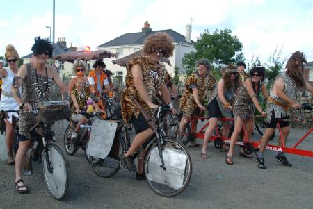 cavemen bikes bicycles cycling cyclists transport transportation united kingdom british