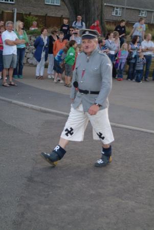 man dressed adolf hitler costumes costumed nazi swastika united kingdom british