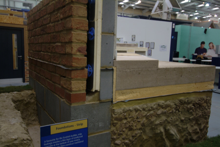 cutaway strip foundations showing foundation blocks solid concrete floor construction building industry industrial uk business commerce united kingdom british