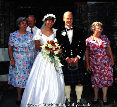 bride groom kilt families family kin kinfolk tribe generations geneaology people persons scottish wedding united kingdom british