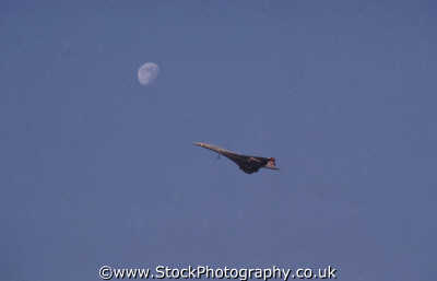 concorde moon clear sky uk airports aviation airfield aircraft transport transportation flying united kingdom british
