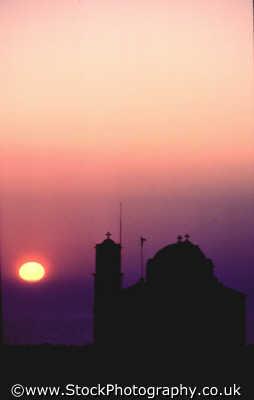sunset greek church sunsets dusk travel twilight nightfall religion pray faith creed cult theology doctrine mykonos island dodcanese islands greece europe european