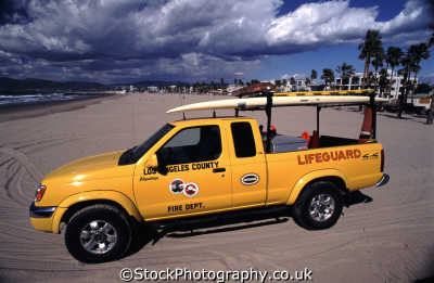 baywatch lifeguard truck surfboard venice beach emergency services american yankee travel la los angeles california californian usa united states america