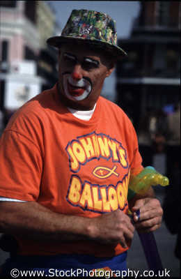 johnny balloons street performers buskers arts misc. clown facepaint new orleans big easy louisiana southern state usa united states america american