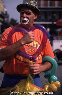 johnny balloon street performers buskers arts misc. clown heart shaped performer performance art new orleans big easy louisiana southern state usa united states america american