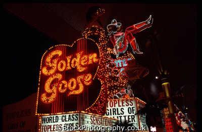 golden goose sign las vegas american yankee travel nightlife freemont st gambling gamblers nevada usa united states america
