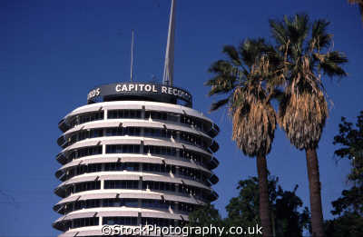 hollywood capitol records building palms los angeles la california american yankee travel tinseltown rock music californian usa united states america