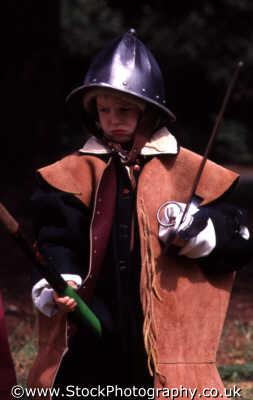 child dressing roundhead helmet children infant groups people persons jerkin sword middlesex middx england english angleterre inghilterra inglaterra united kingdom british