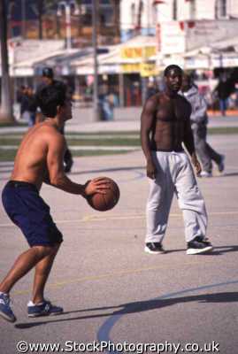 basketball player stripped waist labout shoot muscle beach sports sporting uk venice santa monica la los angeles california californian usa united states america american