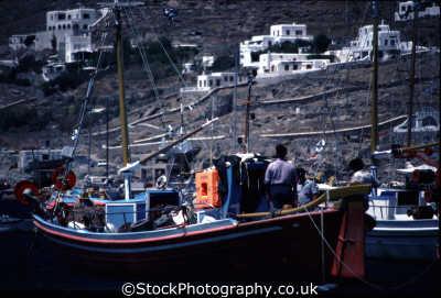 greek fishing boat leaving harbour european travel mykonos greece goodbye island dodcanese islands europe