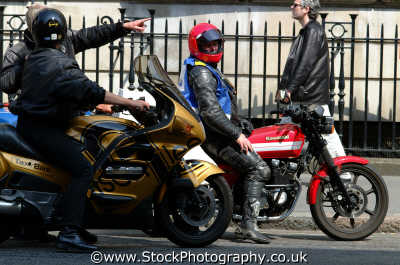 motorcycle messengers discussing directions w1 working people persons chat westminster london cockney england english angleterre inghilterra inglaterra united kingdom british