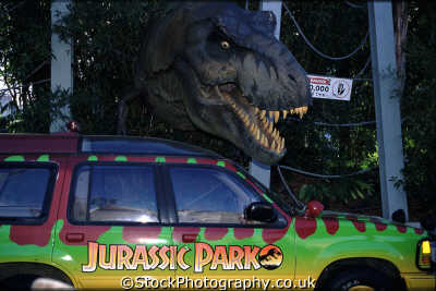 tyrannosaurus rex breaking high voltage fence attack jurassic park ranger vehicle movies films arts misc. destroy scare roar 1000 volts florida usa united states america american